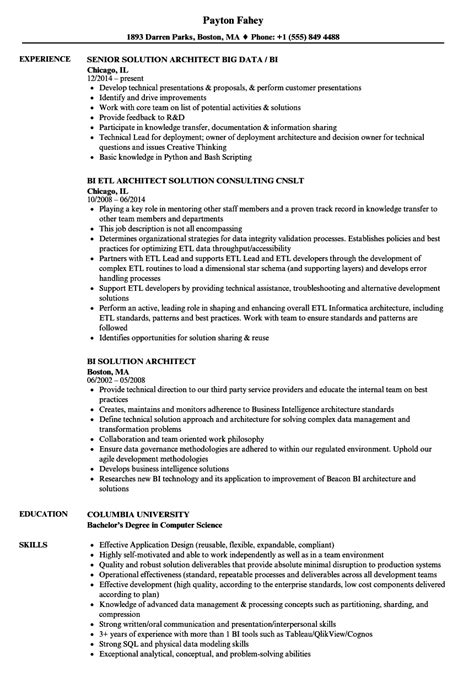 Sample solution architecture resume — earlier-intersections ga